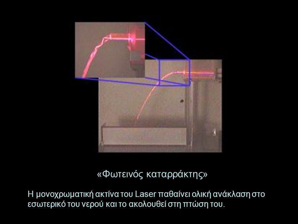 «Φωτεινός καταρράκτης» Η μονοχρωματική ακτίνα του Laser παθαίνει ολική ανάκλαση στο εσωτερικό του νερού και το ακολουθεί στη πτώση του.