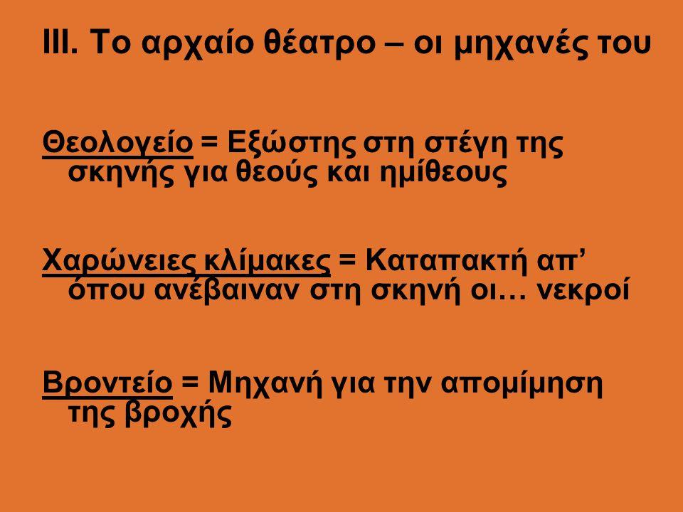 ΙII. Το αρχαίο θέατρο – οι μηχανές του Θεολογείο = Εξώστης στη στέγη της σκηνής για θεούς και ημίθεους Χαρώνειες κλίμακες = Καταπακτή απ' όπου ανέβαιν