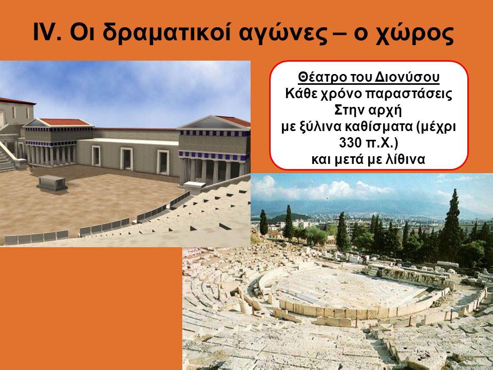 ΙV. Οι δραματικοί αγώνες – ο χώρος Θέατρο του Διονύσου Κάθε χρόνο παραστάσεις Στην αρχή με ξύλινα καθίσματα (μέχρι 330 π.Χ.) και μετά με λίθινα