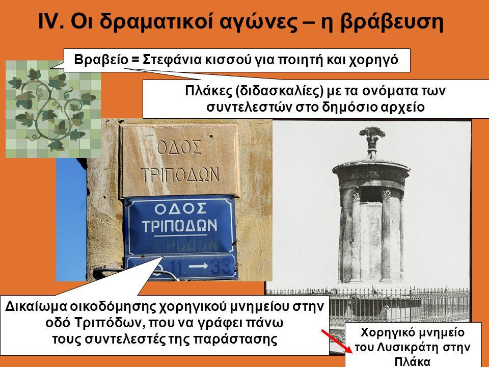 ΙV. Οι δραματικοί αγώνες – η βράβευση Βραβείο = Στεφάνια κισσού για ποιητή και χορηγό Δικαίωμα οικοδόμησης χορηγικού μνημείου στην οδό Τριπόδων, που ν