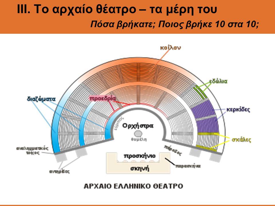 ΙII. Το αρχαίο θέατρο – τα μέρη του Πόσα βρήκατε; Ποιος βρήκε 10 στα 10;