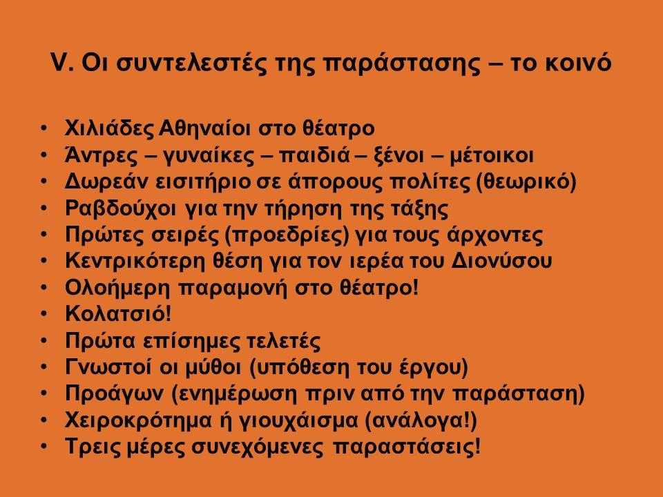 V. Οι συντελεστές της παράστασης – το κοινό Χιλιάδες Αθηναίοι στο θέατρο Άντρες – γυναίκες – παιδιά – ξένοι – μέτοικοι Δωρεάν εισιτήριο σε άπορους πολ