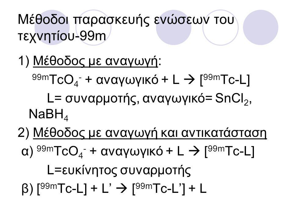 Mέθοδοι παρασκευής ενώσεων του τεχνητίου-99m 1) Μέθοδος με αναγωγή: 99m TcO 4 - + αναγωγικό + L  [ 99m Tc-L] L= συναρμοτής, αναγωγικό= SnCl 2, NaBH 4