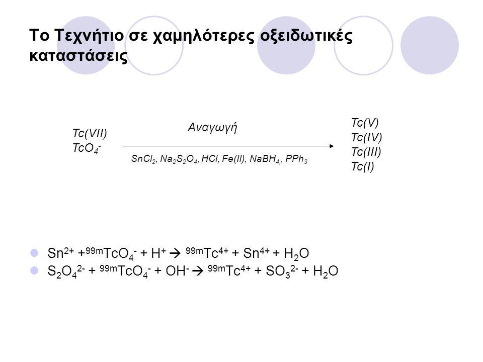 Το Τεχνήτιο σε χαμηλότερες οξειδωτικές καταστάσεις Sn 2+ + 99m TcO 4 - + H +  99m Tc 4+ + Sn 4+ + H 2 O S 2 O 4 2- + 99m TcO 4 - + OH -  99m Tc 4+ +
