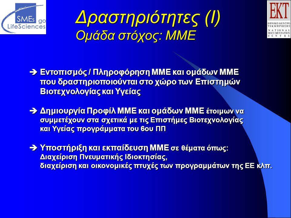 Δραστηριότητες (Ι) Ομάδα στόχος: ΜΜΕ  Εντοπισμός / Πληροφόρηση ΜΜΕ και ομάδων ΜΜΕ που δραστηριοποιούνται στο χώρο των Επιστημών Βιοτεχνολογίας και Υγείας  Δημιουργία Προφίλ ΜΜΕ και ομάδων ΜΜΕ έτοιμων να συμμετέχουν στα σχετικά με τις Επιστήμες Βιοτεχνολογίας και Υγείας προγράμματα του 6ου ΠΠ  Υποστήριξη και εκπαίδευση ΜΜΕ σε θέματα όπως: Διαχείριση Πνευματικής Ιδιοκτησίας, διαχείριση και οικονομικές πτυχές των προγραμμάτων της ΕΕ κλπ.