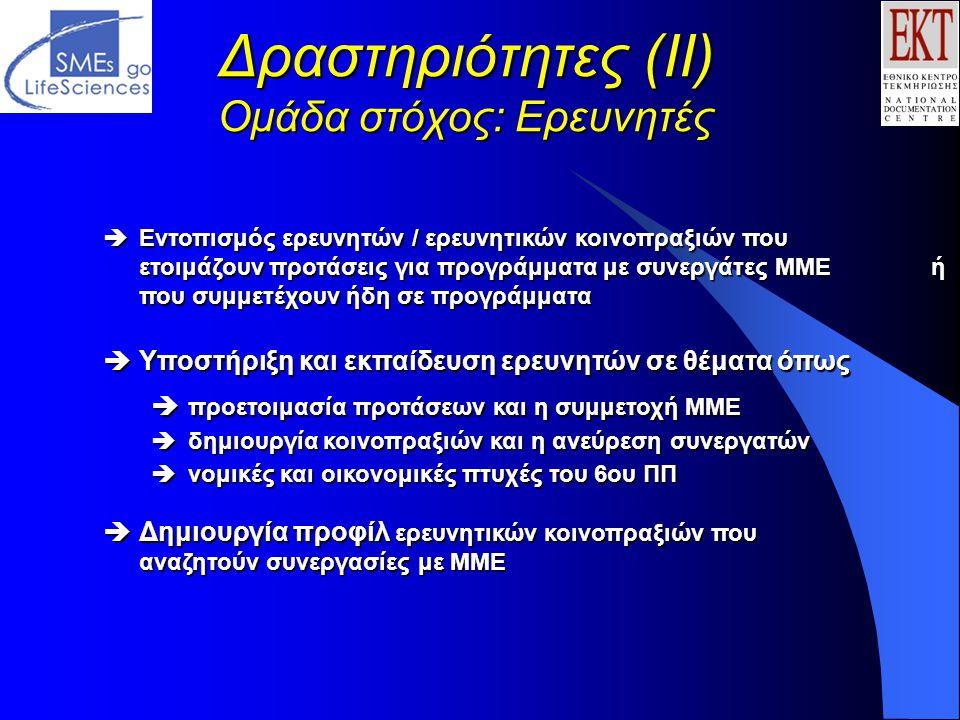 Δραστηριότητες (ΙΙ) Ομάδα στόχος: Ερευνητές  Εντοπισμός ερευνητών / ερευνητικών κοινοπραξιών που ετοιμάζουν προτάσεις για προγράμματα με συνεργάτες ΜΜΕ ή που συμμετέχουν ήδη σε προγράμματα  Υποστήριξη και εκπαίδευση ερευνητών σε θέματα όπως  προετοιμασία προτάσεων και η συμμετοχή ΜΜΕ  δημιουργία κοινοπραξιών και η ανεύρεση συνεργατών  νομικές και οικονομικές πτυχές του 6ου ΠΠ  Δημιουργία προφίλ ερευνητικών κοινοπραξιών που αναζητούν συνεργασίες με ΜΜΕ