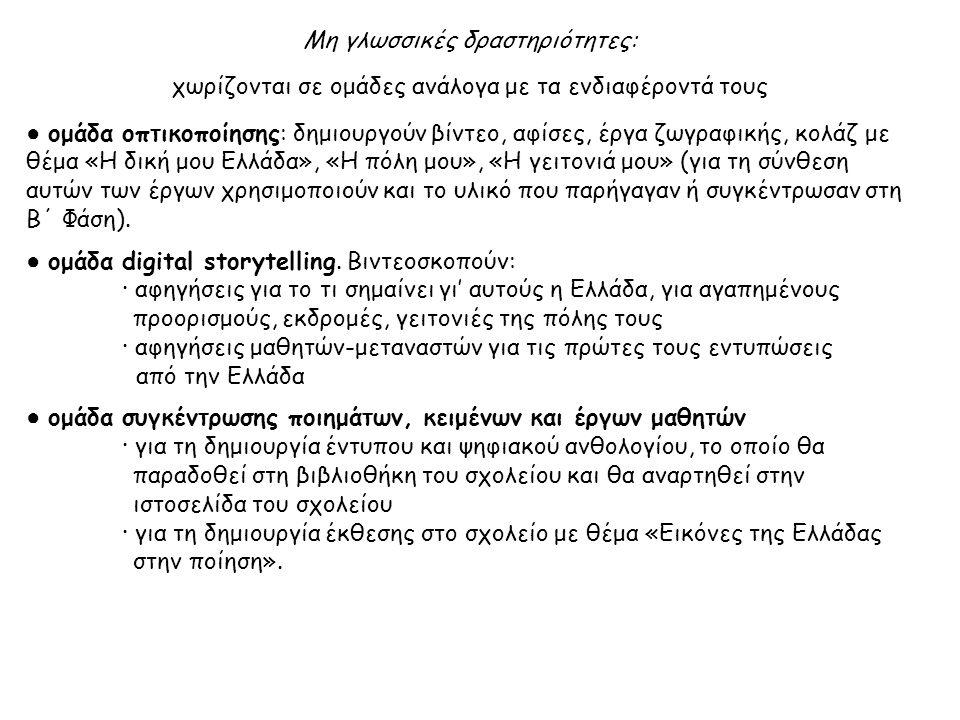 Μη γλωσσικές δραστηριότητες: χωρίζονται σε ομάδες ανάλογα με τα ενδιαφέροντά τους ● ομάδα οπτικοποίησης: δημιουργούν βίντεο, αφίσες, έργα ζωγραφικής, κολάζ με θέμα «Η δική μου Ελλάδα», «Η πόλη μου», «Η γειτονιά μου» (για τη σύνθεση αυτών των έργων χρησιμοποιούν και το υλικό που παρήγαγαν ή συγκέντρωσαν στη Β΄ Φάση).