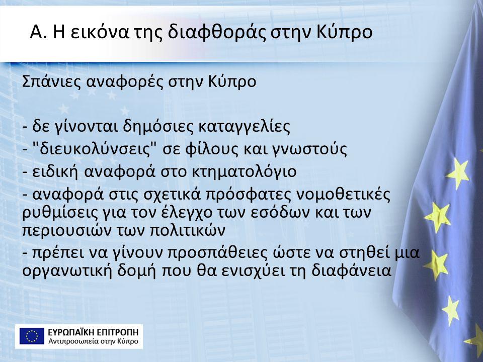 Α. Η εικόνα της διαφθοράς στην Κύπρο Σπάνιες αναφορές στην Κύπρο - δε γίνονται δημόσιες καταγγελίες -
