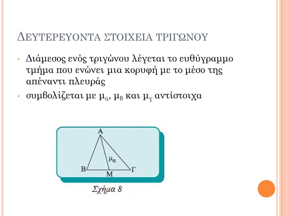 Δ ΕΥΤΕΡΕΥΟΝΤΑ ΣΤΟΙΧΕΙΑ ΤΡΙΓΩΝΟΥ Διάμεσος ενός τριγώνου λέγεται το ευθύγραμμο τμήμα που ενώνει μια κορυφή με το μέσο της απέναντι πλευράς συμβολίζεται με μ α, μ β και μ γ αντίστοιχα