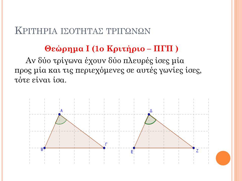 Κ ΡΙΤΗΡΙΑ ΙΣΟΤΗΤΑΣ ΤΡΙΓΩΝΩΝ Θεώρημα I (1ο Κριτήριο – ΠΓΠ ) Αν δύο τρίγωνα έχουν δύο πλευρές ίσες μία προς μία και τις περιεχόμενες σε αυτές γωνίες ίσες, τότε είναι ίσα.