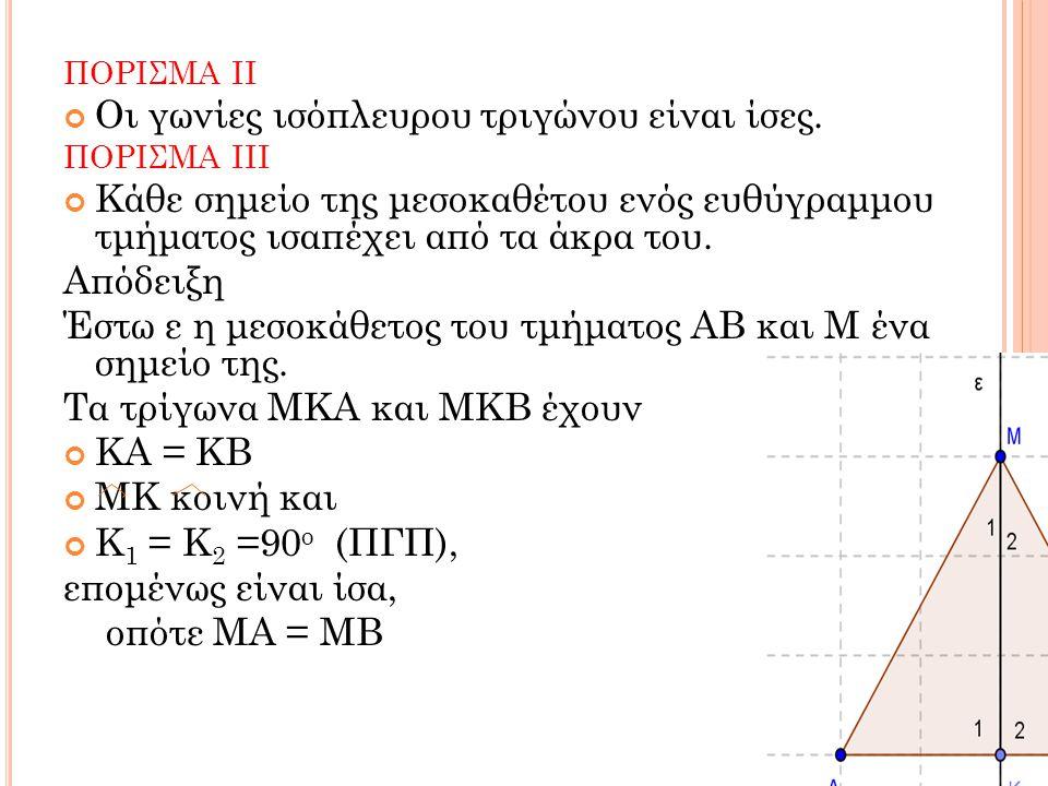 ΠΟΡΙΣΜΑ ΙΙ Οι γωνίες ισόπλευρου τριγώνου είναι ίσες. ΠΟΡΙΣΜΑ ΙΙΙ Κάθε σημείο της μεσοκαθέτου ενός ευθύγραμμου τμήματος ισαπέχει από τα άκρα του. Απόδε