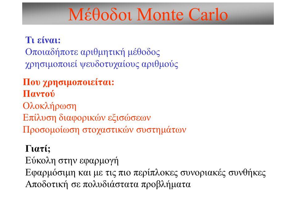 Μέθοδοι Monte Carlo Τι είναι: Οποιαδήποτε αριθμητική μέθοδος χρησιμοποιεί ψευδοτυχαίους αριθμούς Που χρησιμοποιείται: Παντού Ολοκλήρωση Επίλυση διαφορικών εξισώσεων Προσομοίωση στοχαστικών συστημάτων Γιατί; Εύκολη στην εφαρμογή Εφαρμόσιμη και με τις πιο περίπλοκες συνοριακές συνθήκες Αποδοτική σε πολυδιάστατα προβλήματα