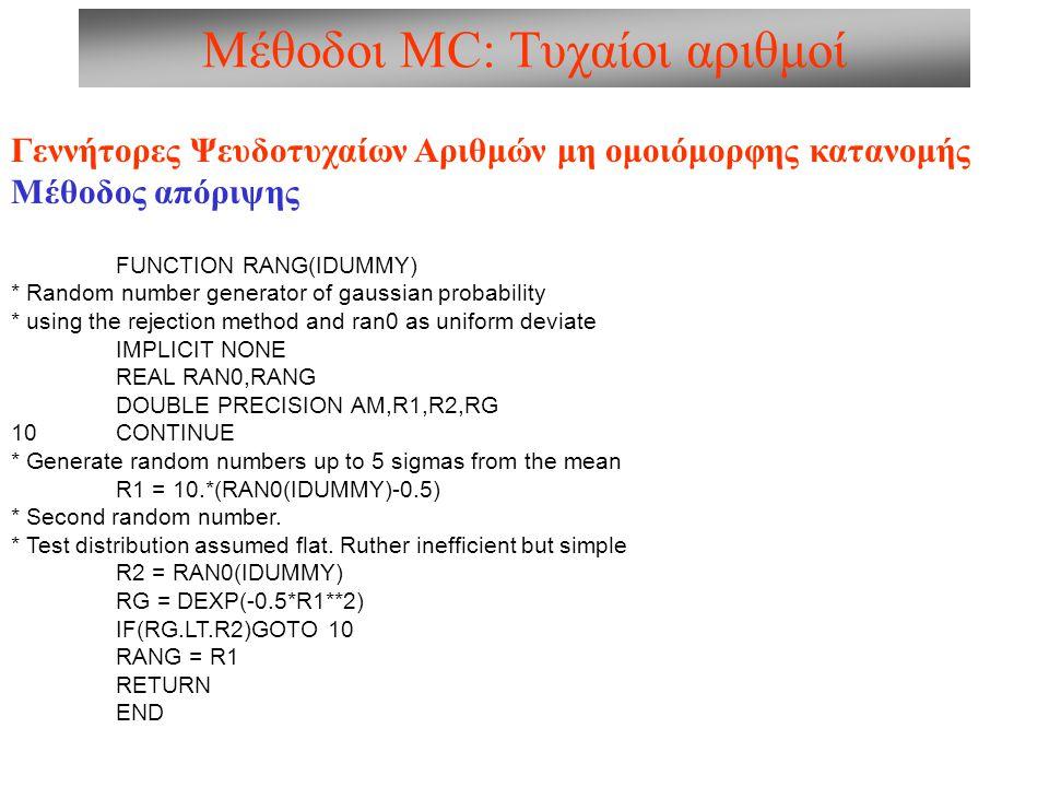 Μέθοδοι MC: Τυχαίοι αριθμοί Γεννήτορες Ψευδοτυχαίων Αριθμών μη ομοιόμορφης κατανομής Μέθοδος απόριψης FUNCTION RANG(IDUMMY) * Random number generator of gaussian probability * using the rejection method and ran0 as uniform deviate IMPLICIT NONE REAL RAN0,RANG DOUBLE PRECISION AM,R1,R2,RG 10 CONTINUE * Generate random numbers up to 5 sigmas from the mean R1 = 10.*(RAN0(IDUMMY)-0.5) * Second random number.