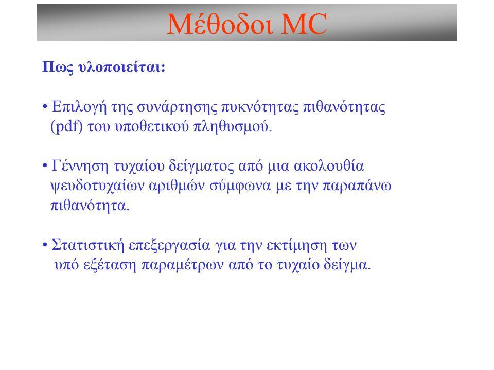 Μέθοδοι MC: Τυχαίοι αριθμοί Τυχαίοι αριθμοί Φυσικές στοχαστικές διαδικασίες (ηλεκτρονικός θόρυβος, πυρηνικές διασπάσεις, κ.λ.π.) Ψευδοτυχαίοι αριθμοί Παράγονται αιτιοκρατικά από υπολογιστικούς αλγορίθμους Εύκολοι στην παραγωγή Επαναλήψιμη διαδικασία Παρέχουν ομοιόμορφη κάλυψη φασικού χώρου Σχεδόν Ψευδοτυχαίοι αριθμοί Παράγονται αιτιοκρατικά από υπολογιστικούς αλγορίθμους Αλυσίδες Markov Παρέχουν προμελετημένη κάλυψη φασικού χώρου