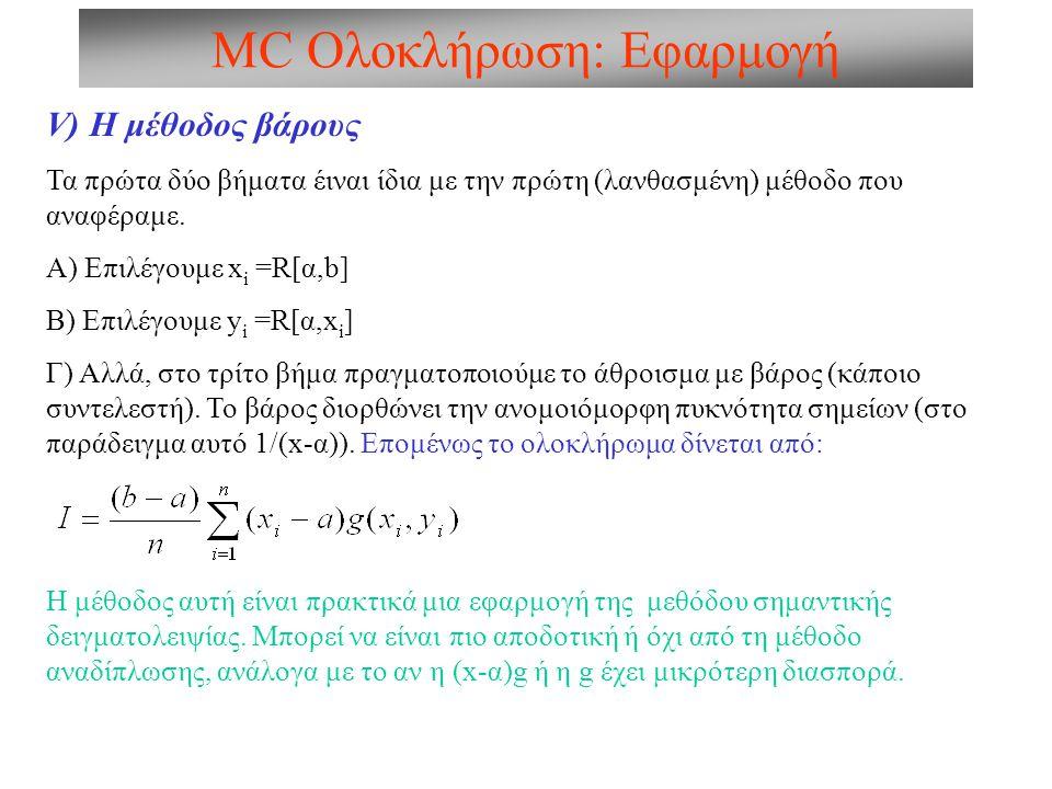 V) Η μέθοδος βάρους Τα πρώτα δύο βήματα έιναι ίδια με την πρώτη (λανθασμένη) μέθοδο που αναφέραμε.