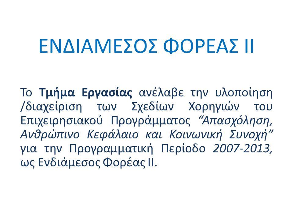 ΕΝΔΙΑΜΕΣΟΣ ΦΟΡΕΑΣ ΙΙ Το Τμήμα Εργασίας ανέλαβε την υλοποίηση /διαχείριση των Σχεδίων Χορηγιών του Επιχειρησιακού Προγράμματος Απασχόληση, Ανθρώπινο Κεφάλαιο και Κοινωνική Συνοχή για την Προγραμματική Περίοδο 2007-2013, ως Ενδιάμεσος Φορέας ΙΙ.