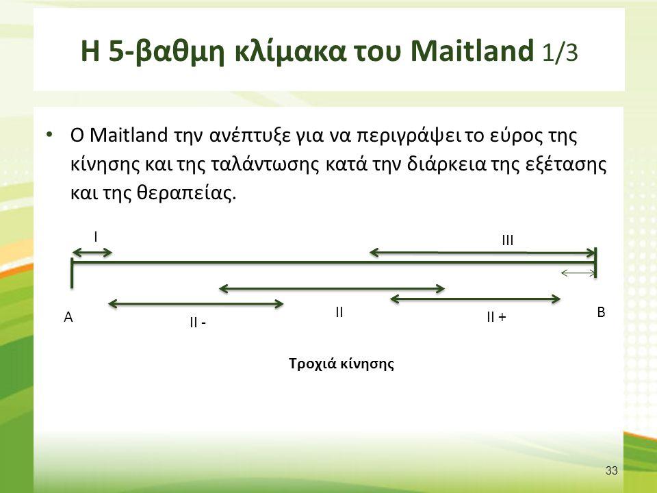 Η 5-βαθμη κλίμακα του Maitland 1/3 Ο Maitland την ανέπτυξε για να περιγράψει το εύρος της κίνησης και της ταλάντωσης κατά την διάρκεια της εξέτασης και της θεραπείας.