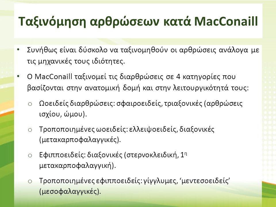 Ταξινόμηση αρθρώσεων κατά MacConaill Συνήθως είναι δύσκολο να ταξινομηθούν οι αρθρώσεις ανάλογα με τις μηχανικές τους ιδιότητες. Ο MacConaill ταξινομε