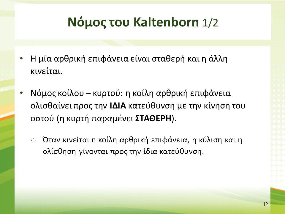 Νόμος του Kaltenborn 1/2 Η μία αρθρική επιφάνεια είναι σταθερή και η άλλη κινείται. Νόμος κοίλου – κυρτού: η κοίλη αρθρική επιφάνεια ολισθαίνει προς τ