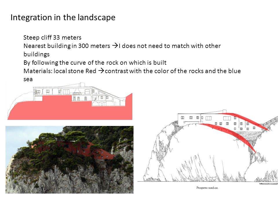 Integration in the landscape Steep cliff 33 meters Nearest building in 300 meters  I does not need to match with other buildings By following the cur