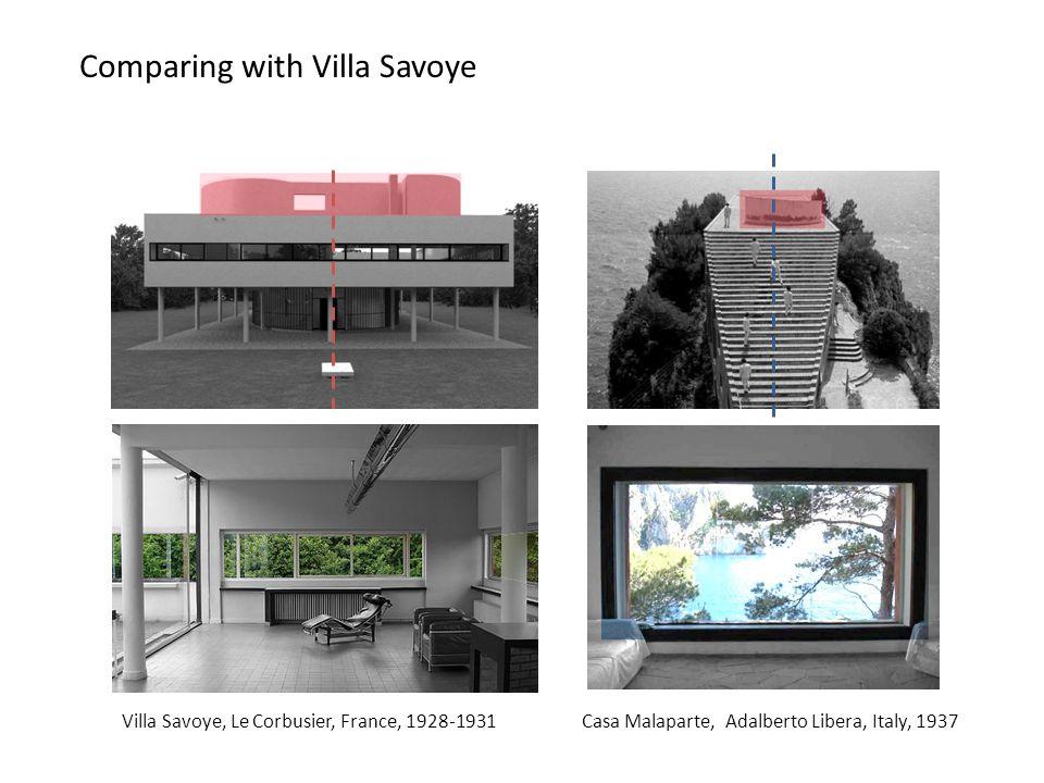 Comparing with Villa Savoye Villa Savoye, Le Corbusier, France, 1928-1931Casa Malaparte, Adalberto Libera, Italy, 1937