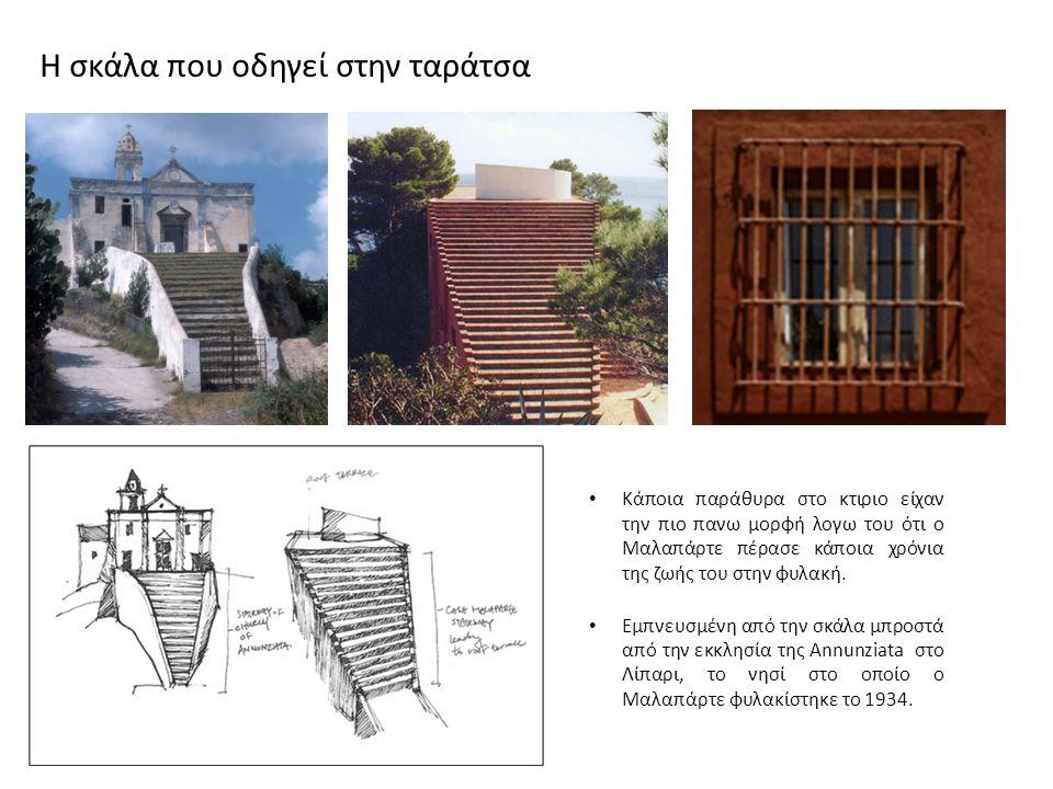 Κάποια παράθυρα στο κτιριο είχαν την πιο πανω μορφή λογω του ότι ο Μαλαπάρτε πέρασε κάποια χρόνια της ζωής του στην φυλακή. Εμπνευσμένη από την σκάλα