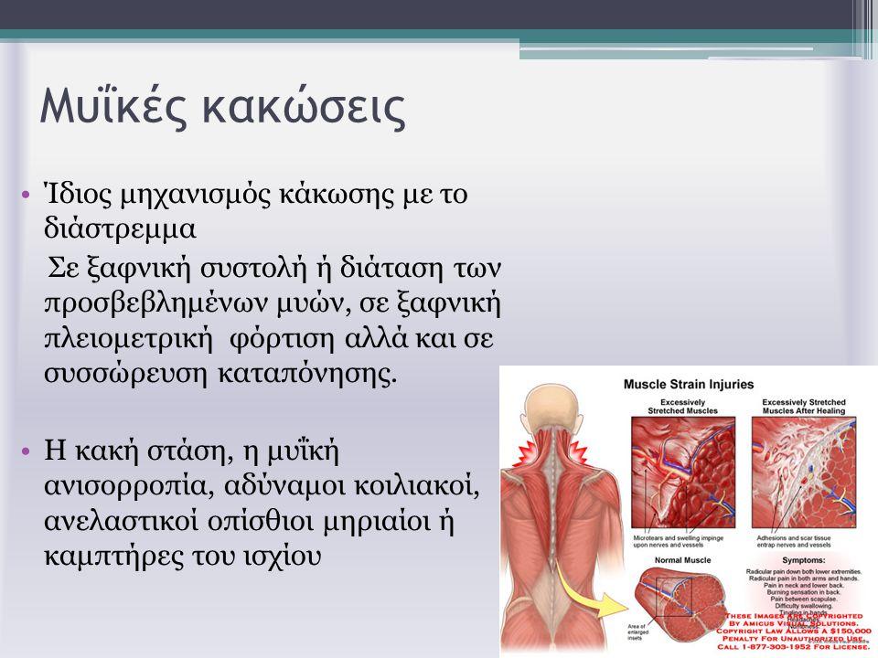 Μυΐκές κακώσεις Ίδιος μηχανισμός κάκωσης με το διάστρεμμα Σε ξαφνική συστολή ή διάταση των προσβεβλημένων μυών, σε ξαφνική πλειομετρική φόρτιση αλλά κ