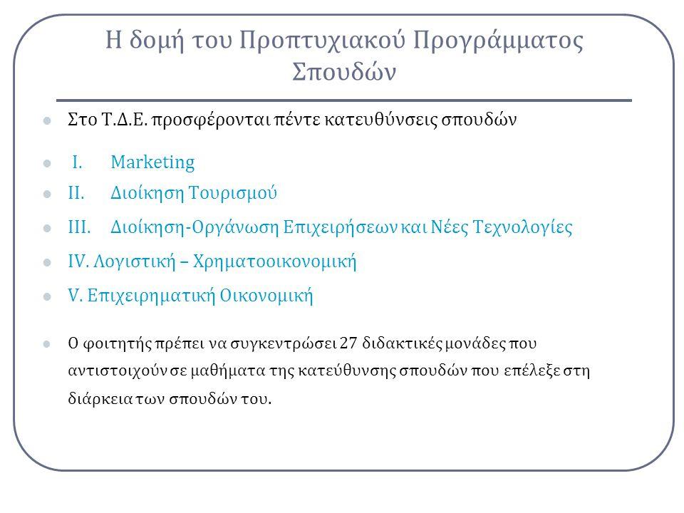 Η δομή του Προπτυχιακού Προγράμματος Σπουδών Στο Τ.Δ.Ε. προσφέρονται πέντε κατευθύνσεις σπουδών Ι.Marketing ΙΙ.Διοίκηση Τουρισμού ΙΙΙ.Διοίκηση-Οργάνωσ
