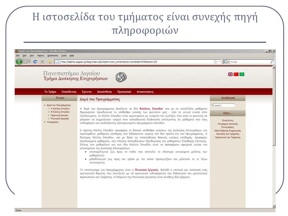 Η ιστοσελίδα του τμήματος είναι συνεχής πηγή πληροφοριών