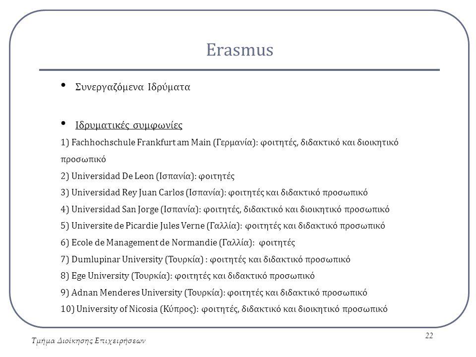 Erasmus Τμήμα Διοίκησης Επιχειρήσεων 22 Συνεργαζόμενα Ιδρύματα Ιδρυματικές συμφωνίες 1) Fachhochschule Frankfurt am Main (Γερμανία): φοιτητές, διδακτι