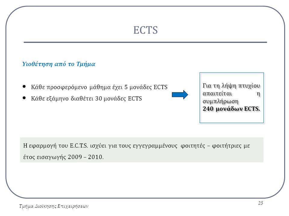 ECTS Τμήμα Διοίκησης Επιχειρήσεων 25 Υιοθέτηση από το Τμήμα Κάθε προσφερόμενο μάθημα έχει 5 μονάδες ECTS Κάθε εξάμηνο διαθέτει 30 μονάδες ECTS Η εφαρμ