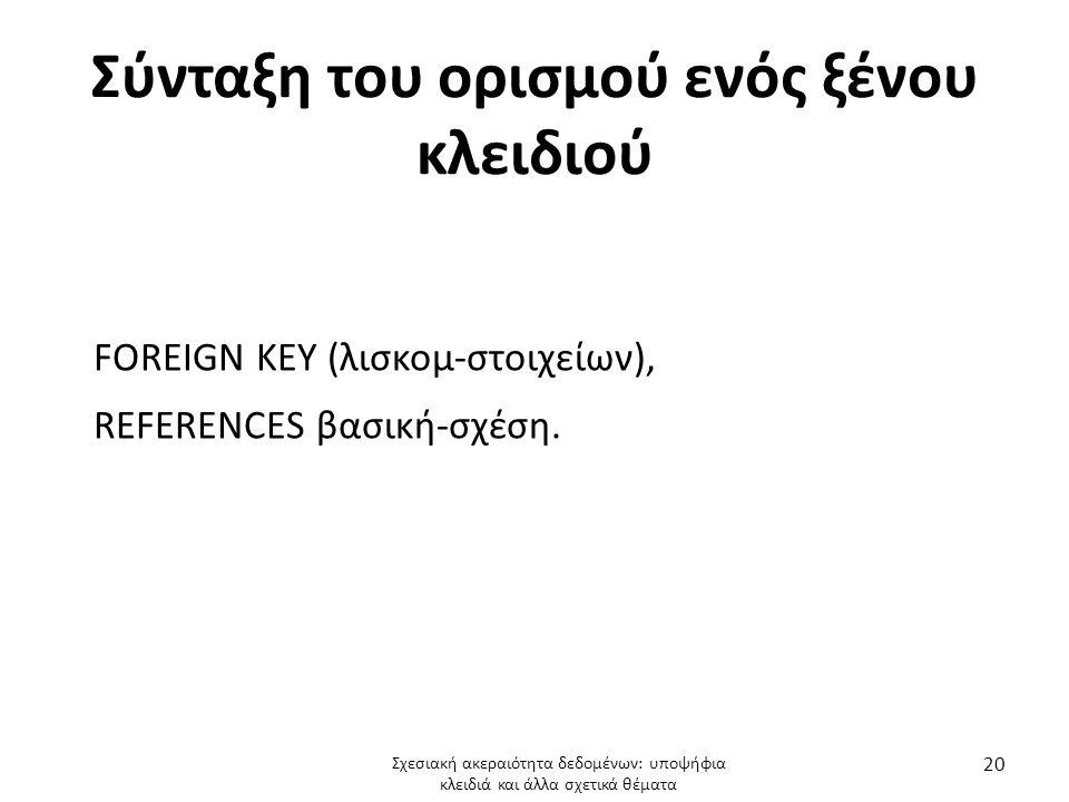 Σύνταξη του ορισμού ενός ξένου κλειδιού FOREIGN KEY (λισκομ-στοιχείων), REFERENCES βασική-σχέση.