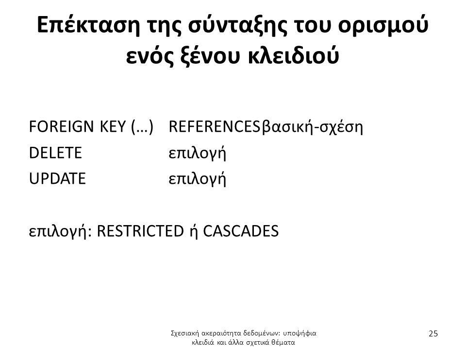 Επέκταση της σύνταξης του ορισμού ενός ξένου κλειδιού FOREIGN KEY (…) REFERENCESβασική-σχέση DELETEεπιλογή UPDATEεπιλογή επιλογή: RESTRICTED ή CASCADES Σχεσιακή ακεραιότητα δεδομένων: υποψήφια κλειδιά και άλλα σχετικά θέματα 25