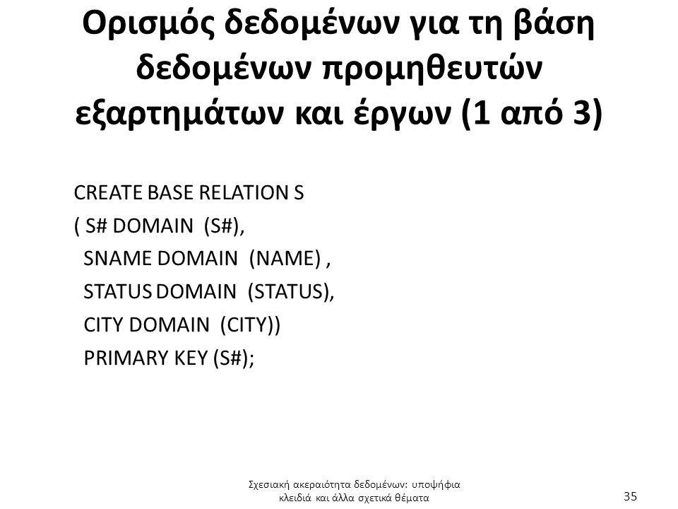 Ορισμός δεδομένων για τη βάση δεδομένων προμηθευτών εξαρτημάτων και έργων (1 από 3) CREATE BASE RELATION S ( S# DOMAIN (S#), SNAME DOMAIN (ΝΑΜΕ), STATUS DOMAIN (STATUS), CITY DOMAIN (CITY)) PRIMARY KEY (S#); Σχεσιακή ακεραιότητα δεδομένων: υποψήφια κλειδιά και άλλα σχετικά θέματα 35