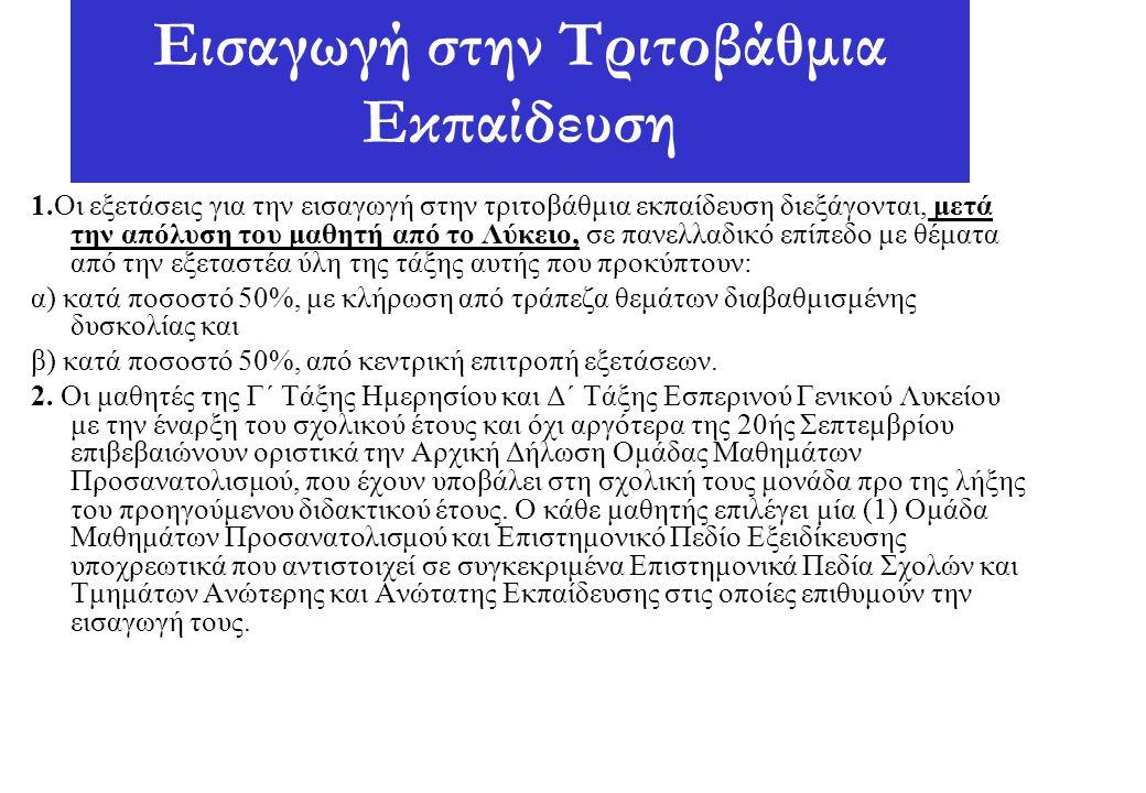 Εισαγωγή στην Τριτοβάθμια Εκπαίδευση 1.Οι εξετάσεις για την εισαγωγή στην τριτοβάθμια εκπαίδευση διεξάγονται, μετά την απόλυση του μαθητή από το Λύκει