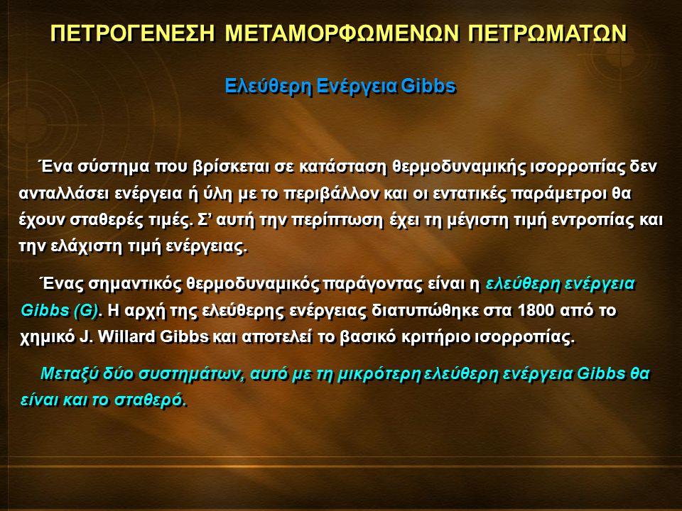 ΠΕΤΡΟΓΕΝΕΣΗ ΜΕΤΑΜΟΡΦΩΜΕΝΩΝ ΠΕΤΡΩΜΑΤΩΝ Ελεύθερη Ενέργεια Gibbs Ένα σύστημα που βρίσκεται σε κατάσταση θερμοδυναμικής ισορροπίας δεν ανταλλάσει ενέργεια