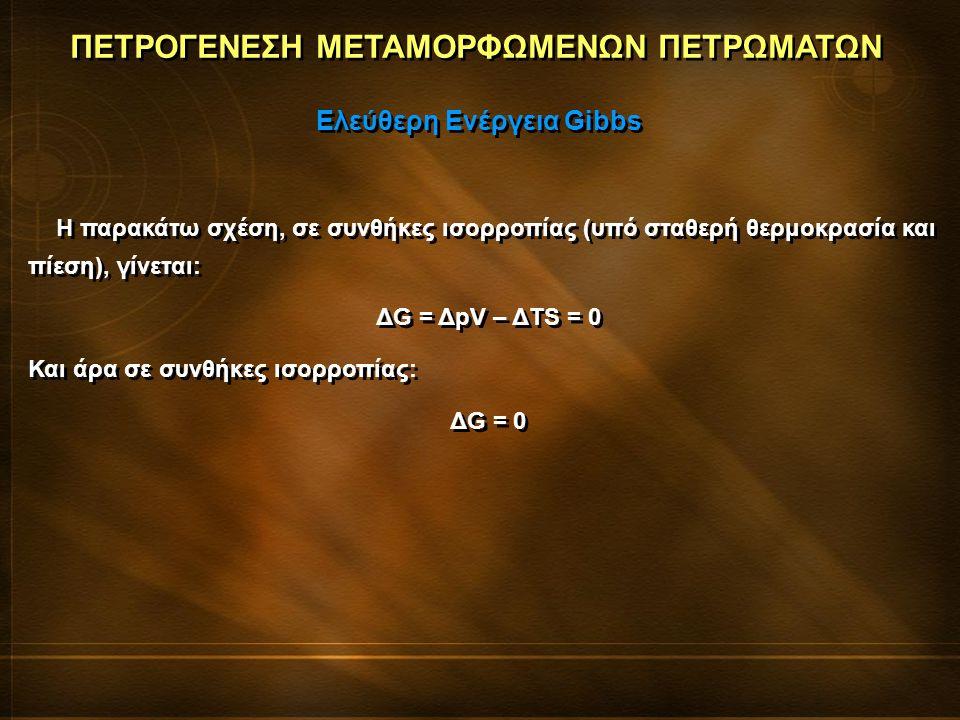 ΠΕΤΡΟΓΕΝΕΣΗ ΜΕΤΑΜΟΡΦΩΜΕΝΩΝ ΠΕΤΡΩΜΑΤΩΝ Η παρακάτω σχέση, σε συνθήκες ισορροπίας (υπό σταθερή θερμοκρασία και πίεση), γίνεται: ΔG = ΔpV – ΔTS = 0 Και άρ