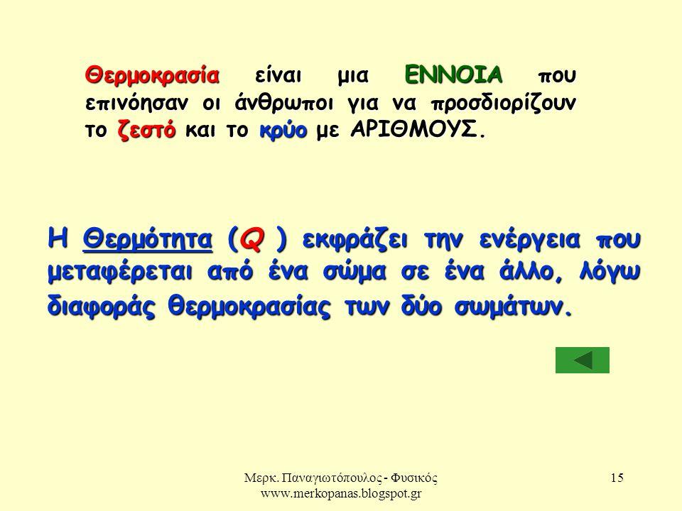 Μερκ. Παναγιωτόπουλος - Φυσικός www.merkopanas.blogspot.gr 15 Η Θερμότητα (Q ) εκφράζει την ενέργεια που μεταφέρεται από ένα σώμα σε ένα άλλο, λόγω δι