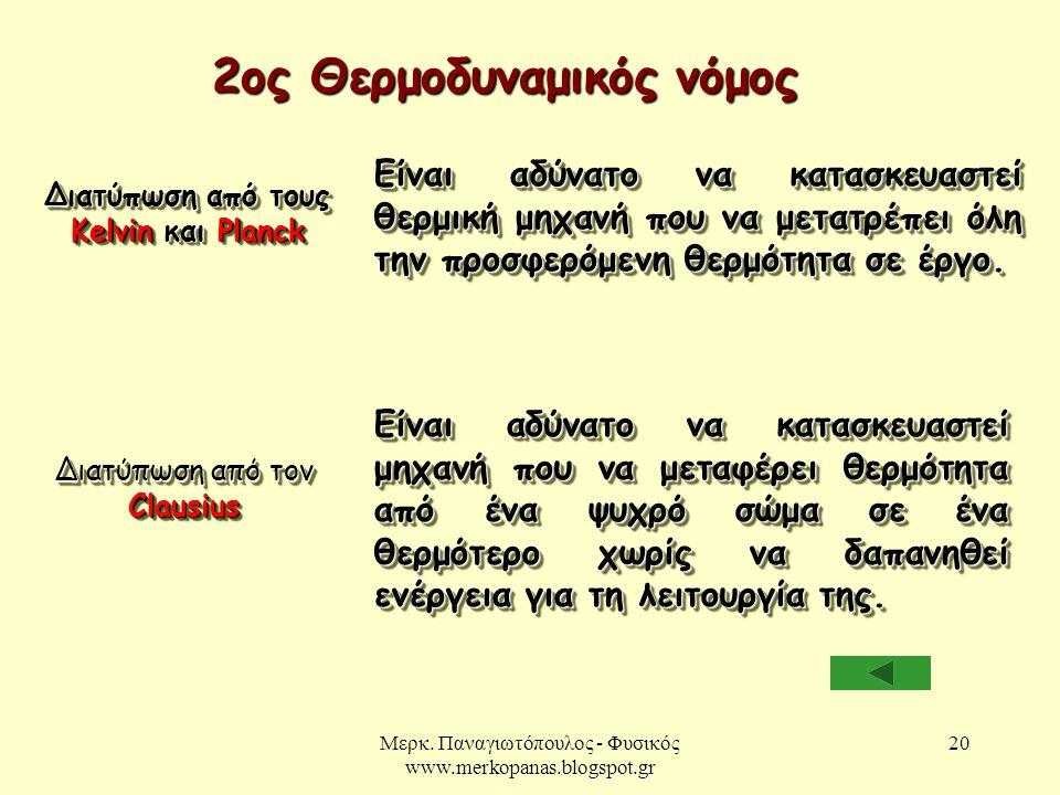 Μερκ. Παναγιωτόπουλος - Φυσικός www.merkopanas.blogspot.gr 20 2ος Θερμοδυναμικός νόμος Διατύπωση από τους Kelvin και Planck Είναι αδύνατο να κατασκευα