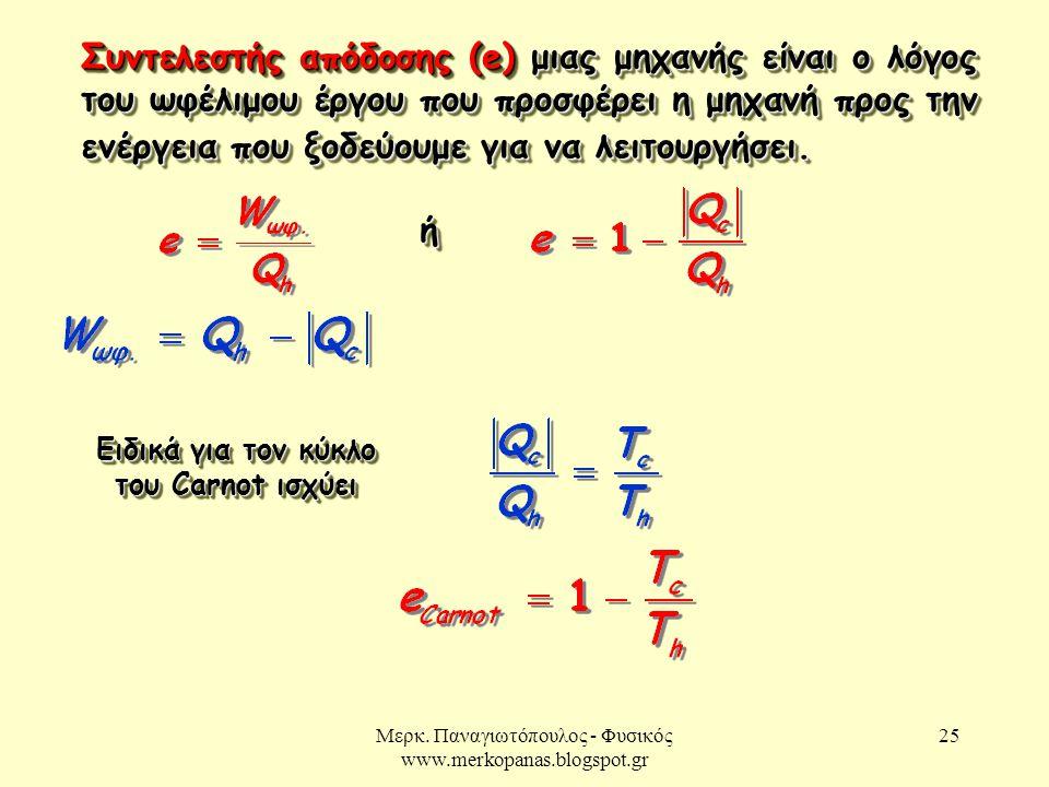 Μερκ. Παναγιωτόπουλος - Φυσικός www.merkopanas.blogspot.gr 25 Συντελεστής απόδοσης (e) μιας μηχανής είναι ο λόγος του ωφέλιμου έργου που προσφέρει η μ