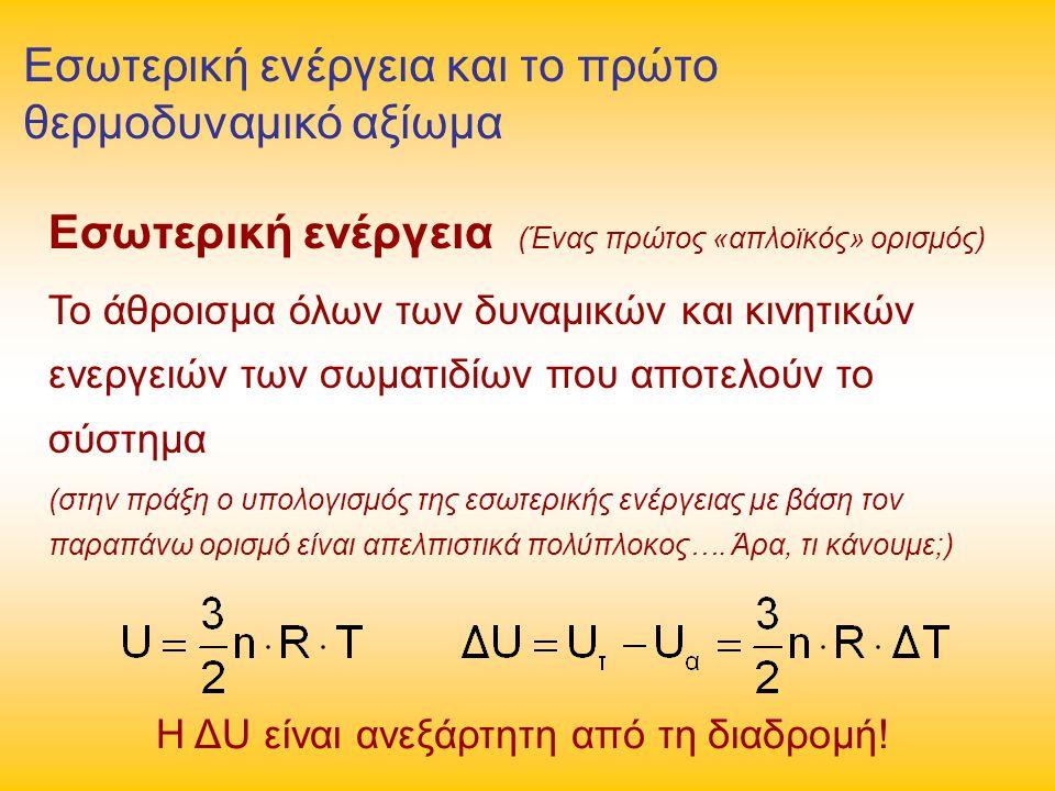 Εσωτερική ενέργεια και το πρώτο θερμοδυναμικό αξίωμα Εσωτερική ενέργεια (Ένας πρώτος «απλοϊκός» ορισμός) Το άθροισμα όλων των δυναμικών και κινητικών