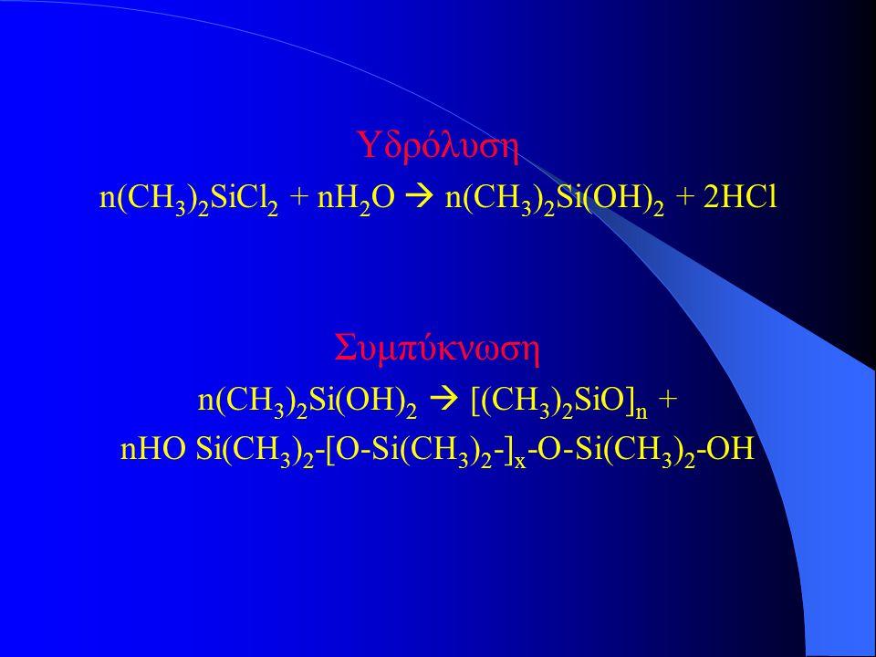 Υδρόλυση n(CH 3 ) 2 SiCl 2 + nH 2 O  n(CH 3 ) 2 Si(OH) 2 + 2HCl Συμπύκνωση n(CH 3 ) 2 Si(OH) 2  [(CH 3 ) 2 SiO] n + nHO Si(CH 3 ) 2 -[O-Si(CH 3 ) 2