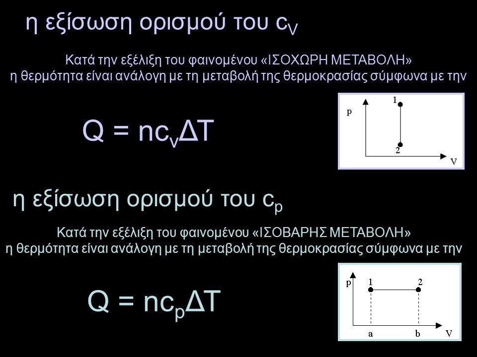 η εξίσωση ορισμού του c V Q = nc v ΔΤ η εξίσωση ορισμού του c p Q = nc p ΔΤ Κατά την εξέλιξη του φαινομένου «ΙΣΟΧΩΡΗ ΜΕΤΑΒΟΛΗ» η θερμότητα είναι ανάλογη με τη μεταβολή της θερμοκρασίας σύμφωνα με την Κατά την εξέλιξη του φαινομένου «ΙΣΟΒΑΡΗΣ ΜΕΤΑΒΟΛΗ» η θερμότητα είναι ανάλογη με τη μεταβολή της θερμοκρασίας σύμφωνα με την