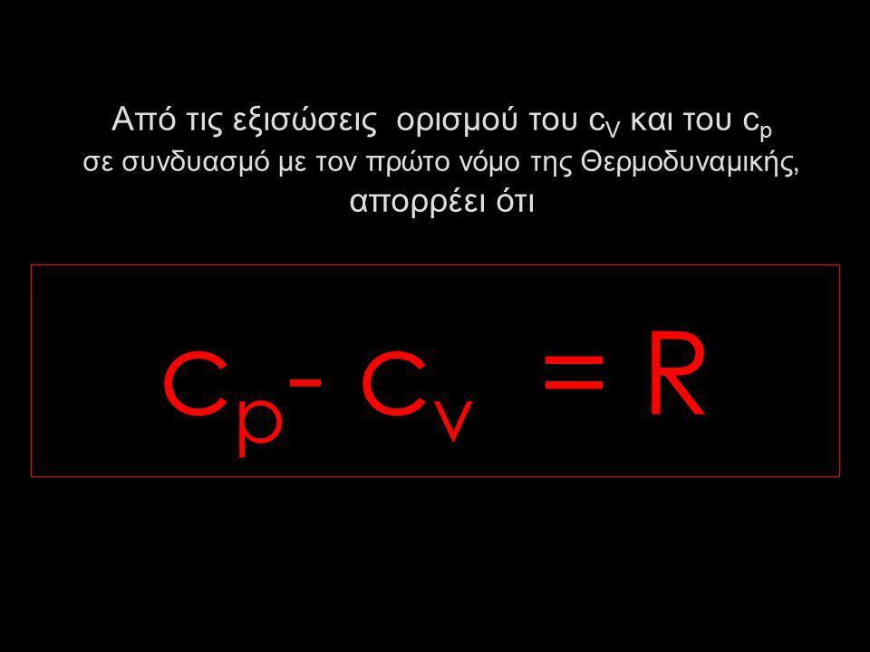 Από τις εξισώσεις ορισμού του c V και του c p σε συνδυασμό με τον πρώτο νόμο της Θερμοδυναμικής, απορρέει ότι c p - c v = R