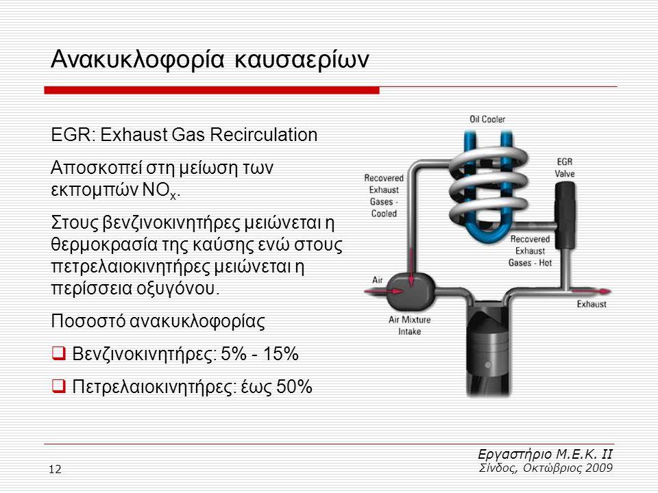 12 Ανακυκλοφορία καυσαερίων Εργαστήριο Μ.Ε.Κ. ΙΙ Σίνδος, Οκτώβριος 2009 EGR: Exhaust Gas Recirculation Αποσκοπεί στη μείωση των εκπομπών NO x. Στους β