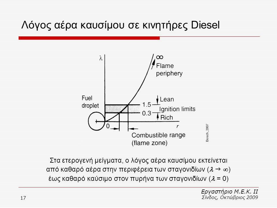 17 Λόγος αέρα καυσίμου σε κινητήρες Diesel Εργαστήριο Μ.Ε.Κ. ΙΙ Σίνδος, Οκτώβριος 2009 Στα ετερογενή μείγματα, ο λόγος αέρα καυσίμου εκτείνεται από κα