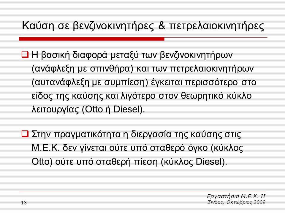 18  Η βασική διαφορά μεταξύ των βενζινοκινητήρων (ανάφλεξη με σπινθήρα) και των πετρελαιοκινητήρων (αυτανάφλεξη με συμπίεση) έγκειται περισσότερο στο