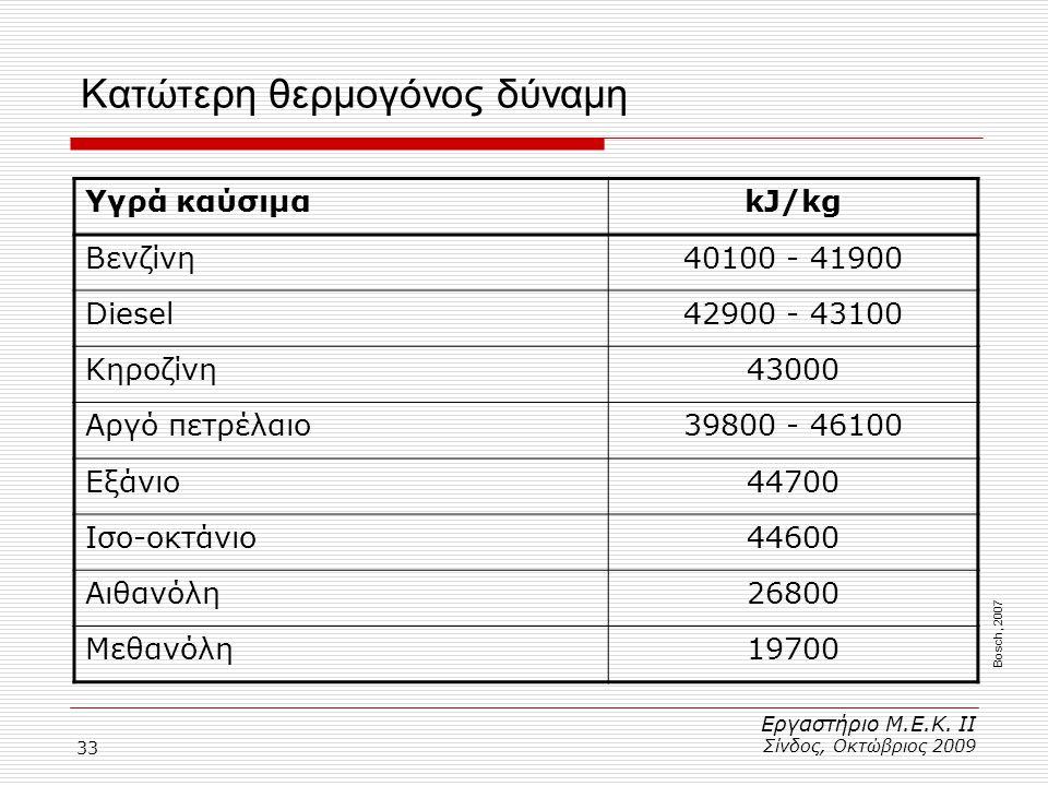 33 Κατώτερη θερμογόνος δύναμη Εργαστήριο Μ.Ε.Κ. ΙΙ Σίνδος, Οκτώβριος 2009 Υγρά καύσιμαkJ/kg Βενζίνη40100 - 41900 Diesel42900 - 43100 Κηροζίνη43000 Αργ