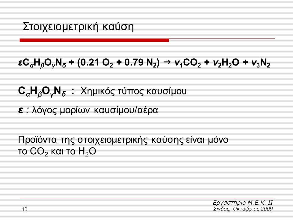 40 Στοιχειομετρική καύση Εργαστήριο Μ.Ε.Κ. ΙΙ Σίνδος, Οκτώβριος 2009 εC α H β O γ N δ + (0.21 Ο 2 + 0.79 Ν 2 )  ν 1 CO 2 + ν 2 H 2 O + ν 3 Ν 2 C α H