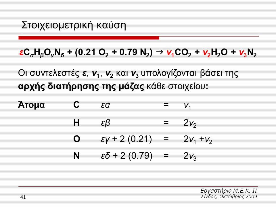 41 Στοιχειομετρική καύση Εργαστήριο Μ.Ε.Κ. ΙΙ Σίνδος, Οκτώβριος 2009 εC α H β O γ N δ + (0.21 Ο 2 + 0.79 Ν 2 )  ν 1 CO 2 + ν 2 H 2 O + ν 3 Ν 2 Οι συν